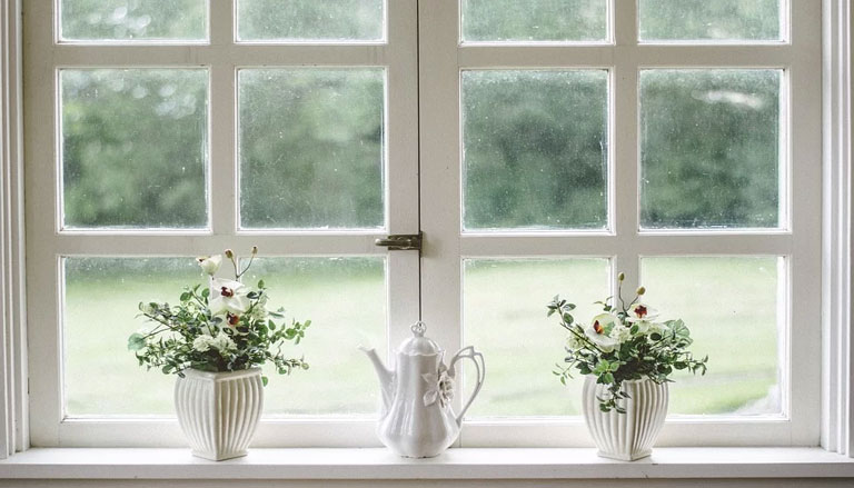 Decorative plant pots on window ledge