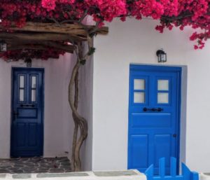 house entrance with blue door
