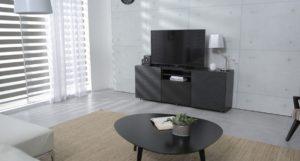 white walls and dark television area