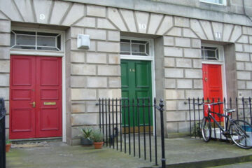 UK doors front of 3 houses